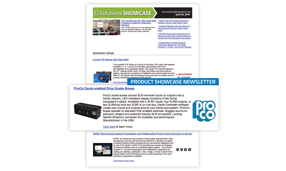 Commercial Integrator Product Showcase Newsletter
