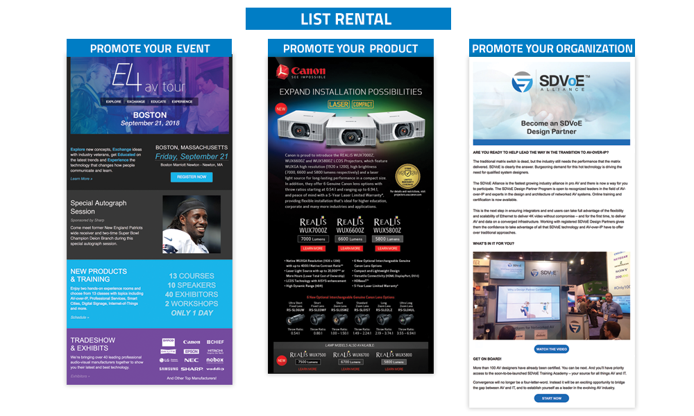 Commercial Integrator Targeted List Rentals